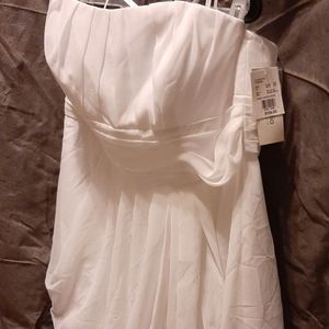 NWT David's Bridal Strapless Chiffon Ruche Dress